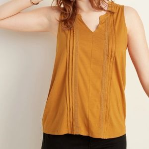 NWT Old Navy Sleeveless Split-Neck Top Brown Small